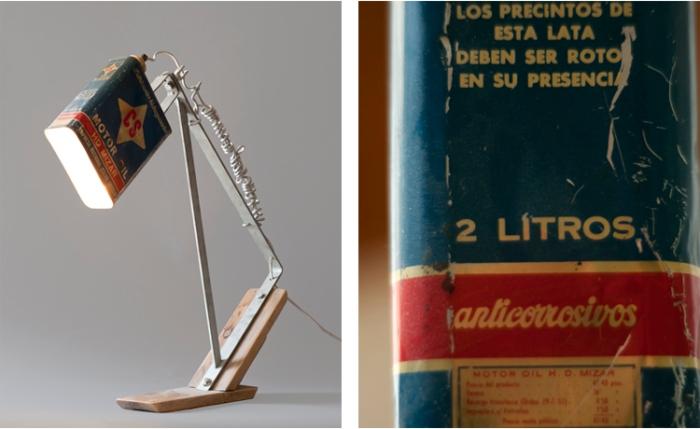 Diseño de lámpara con lata antigua de MOTOR OIL